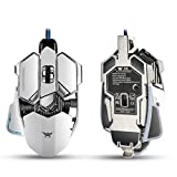 Windspeed Gaming Mice Gaming Mouse Combaterwing 4800 DPI Optical USB Wired Professional Gaming Mouse Programmable 10 Buttons RGB Breathing LED Mice for PC Pro Gamer (White)
