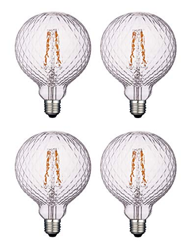 Vintage LED Edison, Dimmable 4W Globe G125/G40, 2200K Warm White Lighting for Decoration, E26 Medium Base, Squirrel Cage Filament LED Light Bulbs, Clear Glass, Harwez, 4 Pack