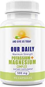 Our Daily Vites Premium potassium + Magnesium Complex 90ct Powerful 500mg 5 FORM Magnesium Oxide Citreate Aspartate Glycinate And Gluconate Helps Sleep Leg Cramps Muscle relaxation Gluten Free Non GMO