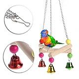 Misciu Pet Bird Parrot Parakeet Budgie Cockatiel Wood Hammock Swing Stand Hanging Toys