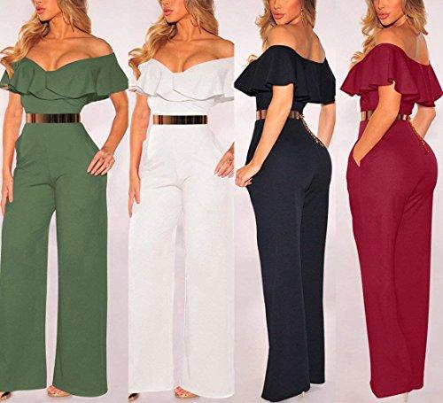 06f408b453 Monos De Vestir Mujer Verano Elegante Fiesta Largos Overall Pantalon Anchos  Manga Corta V Cuello Cintura Alta Basic Ropa Mono Moda Cóctel Party Anchos  ...