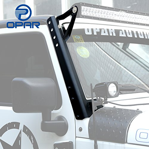 Opar 52 Inch Straight LED Upper Windshield Mounting Brackets for Jeep Wrangler JK