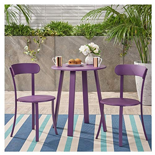 Christopher Knight Home Barbados Outdoor Bistro (Matte Purple)