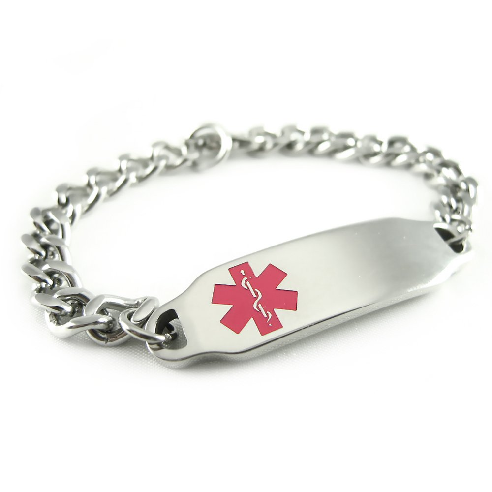 My Identity Doctor - Pre-Engraved & Customizable Peanut Allergy Alert ID Bracelet, Pink Symbol