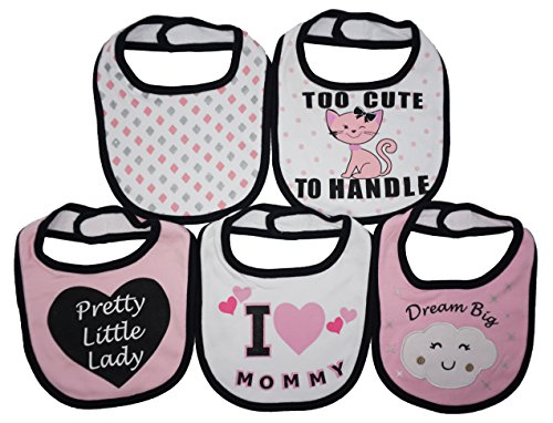 I LOVE MOMMY | 5 Pack Funny Baby Bibs | Funny Baby Girl Feeder Bibs | Too Cute To Handle