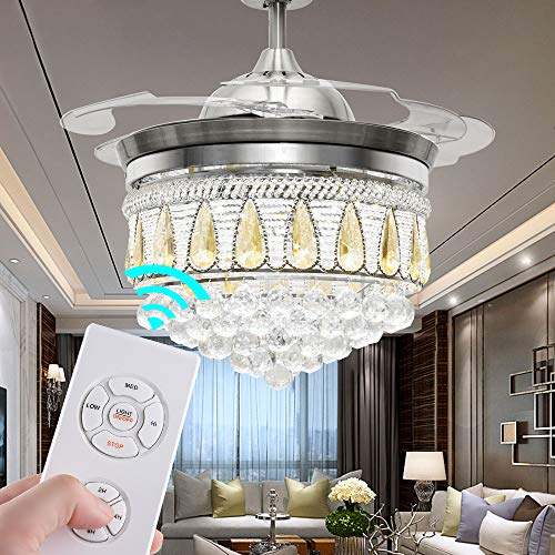 TiptonLight Ceiling Fans with Lights 42 Inch Modern LED Crystal Chandelier Retractable Blades Fan Decorative Fan Lamp in 3 Colors with Remote Control for Living Room Bedroom Restaurant