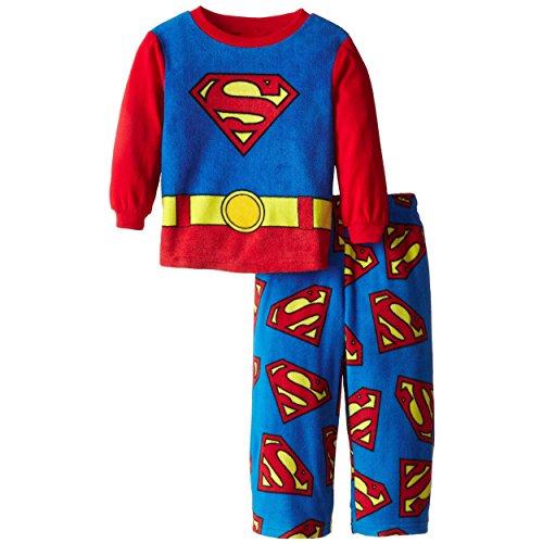 Superman Big Boys' 2 Piece Superman Polar Fleece Pajama Set, Size 10