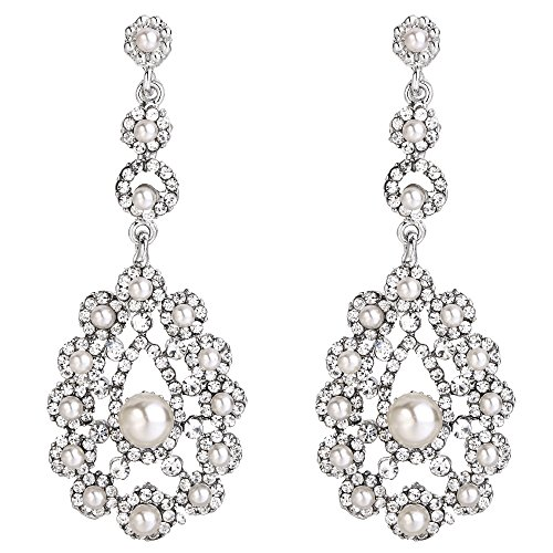 EVER FAITH Austrian Crystal White Simulated Pearl Vintage Inspired Flower Earrings Clear Silver-Tone