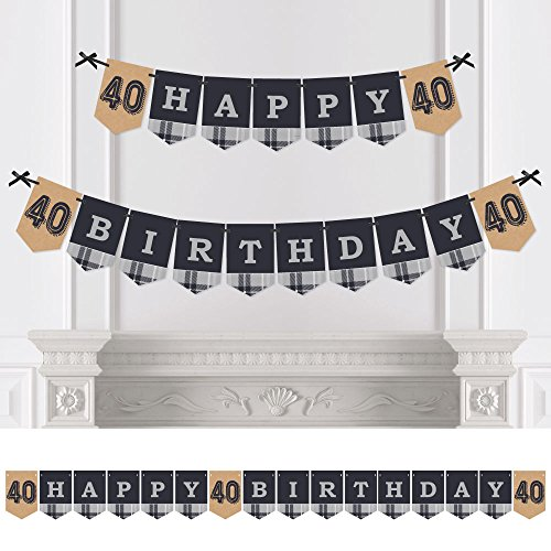 (40th Milestone Birthday - Dashingly Aged to Perfection - Birthday Party Bunting Banner - Vintage Party Decorations - Happy)