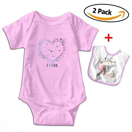 Love Taste Cancer Zodiac Sign Unisex Baby Boy Girl Organic Cotton Bodysuits Short Sleeve Onesies Give Baby Bib Pink