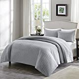 quilt set queen grey - Comfort Spaces - Kienna Quilt Mini Set - 3 Piece - Gray - Stitched Quilt Pattern - Full/Queen size, includes 1 Quilt, 2 Shams
