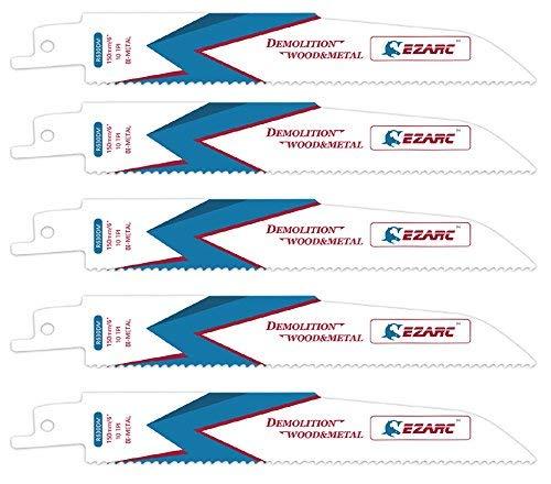EZARC Reciprocating Saw Blade Wood and Metal Demolition 6-Inch 10TPI R630DM (5-Pack) ()