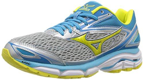 Mizuno Women's Wave Inspire 13 Running Shoe, Grey/Yellow, 9.5 D US by Mizuno