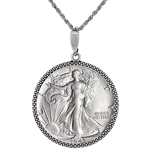 Sterling Silver Walking Liberty Half Dollar Coin Necklace Illusion Diamond 1916 -47