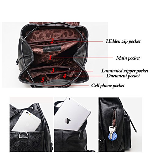 Fashion Purse Real Bag Backpacks Brown Fanshu Shoulder Travel for Black Women Ladies Leather wRTp0xq6