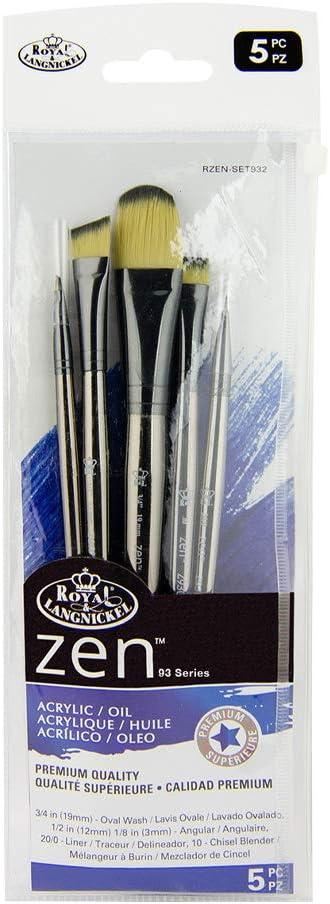Royal & Langnickel, Zen Series 93, Set of 5 Brushes, Standard Handle, Synthetic Filament, Oval Wash 3/4, Angular 1/2, Angular Liner 1/8, Liner 10/0, Chisel Blender 10, RZEN-SET932