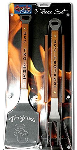 NCAA USC Trojans Grill Set sportula tongs and fork stainless steel wood new by Sportula