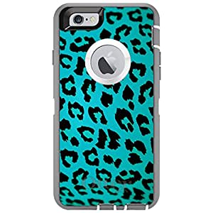"CUSTOM Grey OtterBox Defender Series Case for Apple iPhone 6 PLUS (5.5"" Model) - Teal Black Leopard Skin Spots"