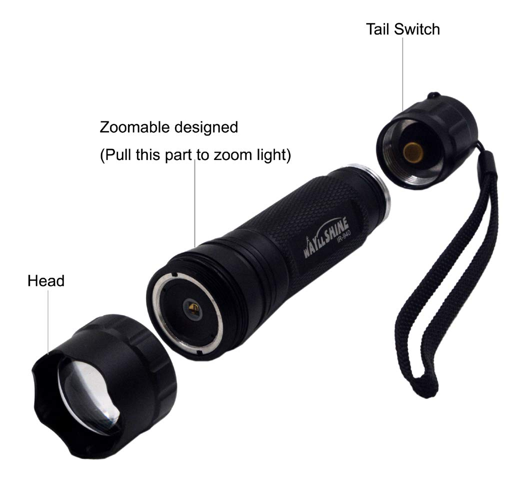 940nm IR Illuminator Flashlight Night Vision Flashlight Zoomable 940nm Infrared Flashlight For Night Vision Camera Device WayLLShine High Power 940nm IR Flashlight Infrared Illuminator Flashlight