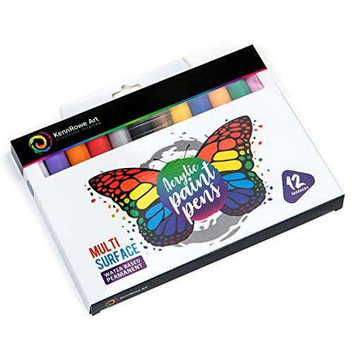 KennRowe Art Acrylic Paint Marker Kit - Box Set Contains 12 Permanent Water Based Paint Pens with Firm 2mm Fiber Tip - Markers are Perfect for Adults, Kids, Artists, Crafts, Cosplay and Rock Painting!