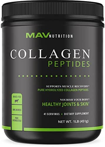 Collagen Peptides (16oz), Pasture - Raised, Grass - Fed, Paleo Friendly Formulized to Support the Body with Healthy Joints & Skin; Pure Hydrolyzed + Unflavored; 100% All Natural, NON-GMO & Gluten-Free