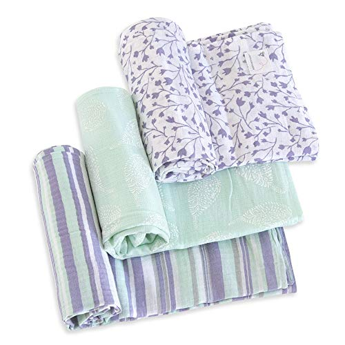 (Burt's Bees Baby - Swaddles, Muslin Cotton Baby Blankets, 3-Pack, Multipurpose Lightweight & Breathable 100% Organic Cotton (Floral Forest))