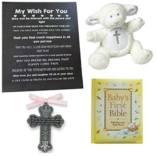 Lifestyle 4in 1 Crib (Baby BAPTISM, CHRISTENING or BABY SHOWER GIFT SET-Baby Bible, Crib Medal, Lamb Rattle and Artwork-1 Big Dream (Pink Cross))