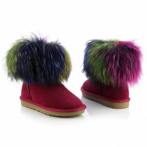 Damesarmen Warme Mode Comfort Veelkleurig Echt Bont Decoratie Koeienleer Platte Sneeuwlaarzen Wijnrood