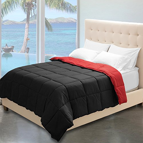Reversible Premium Ultra-Soft Down Alternative Comforter (Full/Queen, Black/Red)