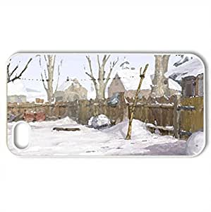 The Backyard In Winter - Case Cover for iPhone 4 and 4s (Winter Series, Watercolor style, White)