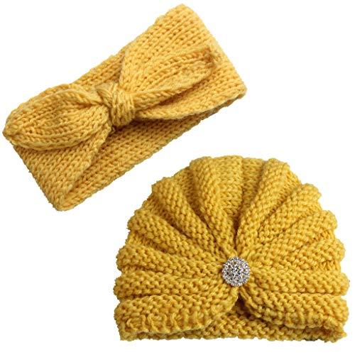 2Pcs Baby Boy Girl Beanie Cap Bowknot Headband, Iuhan Newborn Infant Toddler Knitted Turban Hat Hair Band Beanie Headwear Cap Sets for 0-2year Baby (2 Bobble Custom Head)