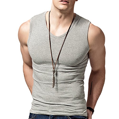 Hyuling Gym Men's Basic Cotton Muscle V-neck/Crew Neck Fitted Muscle (Easy Fitted T-shirt)