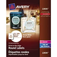 """Avery Print-to-the-Edge Round Labels for Laser and Inkjet Printers,  2-1/2"""" Diameter, Glossy White, Round, 90 Labels, Permanent (22830)"""