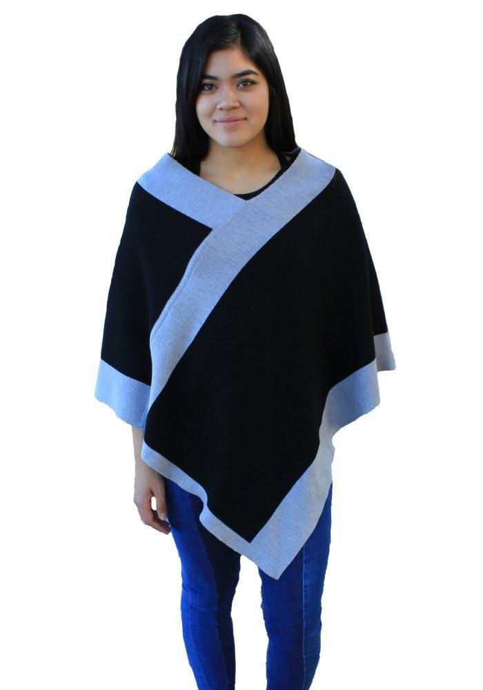 Emji 100% Cashwool® Merino Wool Fine Double Knit, Luxury Rectangular Birdseye Knit, Pullover Poncho, Black and Gray
