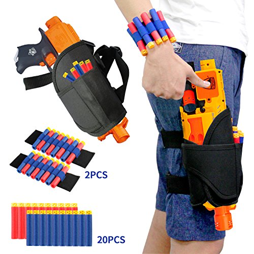 ELONGDI Kids Tactical Waist Bag with Dart Wrister Kit for Nerf Guns N-strike Elite Series Blaster, Tactical Waist Bag for kids, Adjustable Nerf Gun holster for Nerf Guns (20 Darts -