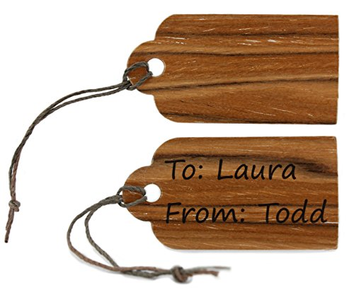 Olive Wood Reuseable Scallop Top 50 Gift Tags w/ 29 Feet of Free Cut Multi-Color Cord, Blank Tags for Craft Projects Gifts. Dry Erase & Permanent Marker Erasable. Premium Gift Tags from VF Products