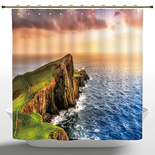 Shower Curtain by iPrint,Lighthouse Decor Collection,Colorful Ocean Coast Panoramic Neist Point Lighthouse Scotland United Kingdom Image,Green Blue,Polyester Fabric Shower Curtain