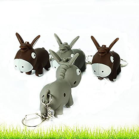 Animal Design LED Keychain with Sound Kid Toy (Grey Donkey) by zZZ