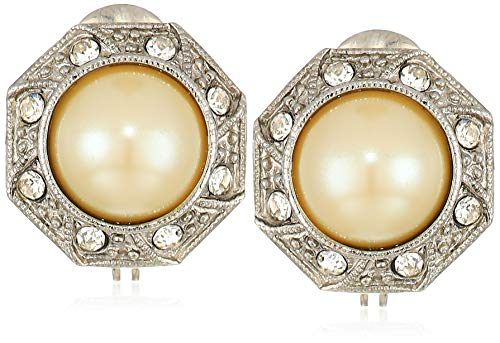 1928 Jewelry Women's Silver Tone Faux Pearl Crystal Round Button Clip Earrings, White, One - Round Button Clip Earrings