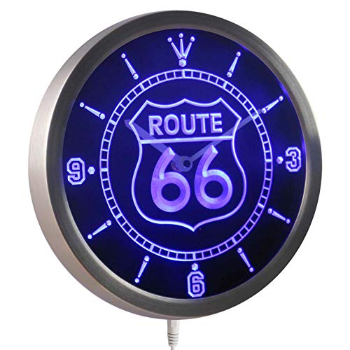 ADVPRO nc0315-b Route 66 Bar Beer Neon Sign LED Wall Clock