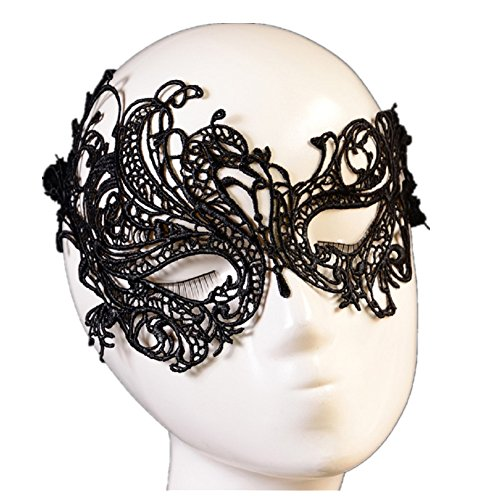 Ball Mask, Misaky Sexy Lace Eye Mask Masquerade Halloween Party Fancy Costume (Black)