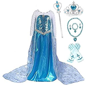 SweetNicole Snow Queen Elsa Princess Party Dress Costume with Accessories (6-7, Style 3)