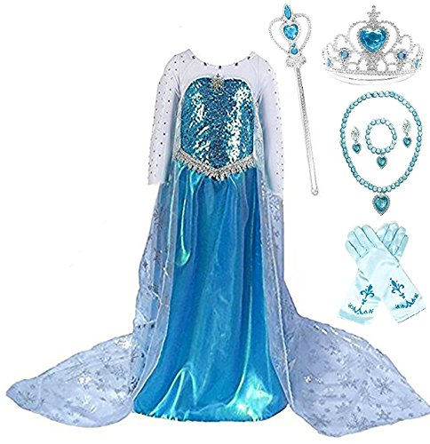 SweetNicole Snow Queen Elsa Princess Party Dress Costume with Accessories (3-4, Style (Elsa Dress Fabric)