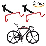 Cheap PHUNAYA Bike Hanger Wall Mount Horizontal Foldable Bicycle Hook for Garage Bicycle Wall Holder Hoist Heavy Duty (2 Pack), With Spare Screws
