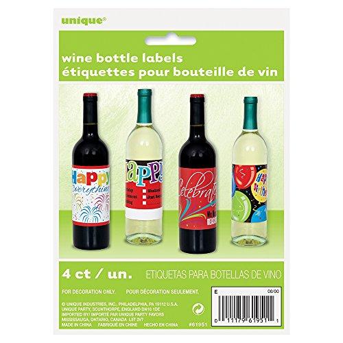Happy Birthday Wine Bottle Labels, 4ct