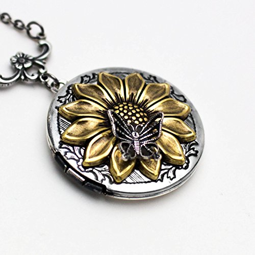 Sunflower and Butterfly Locket Necklace 1.25 inch Locket with 18 inch Chain