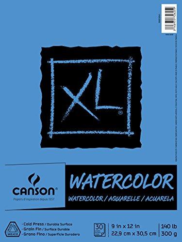 Almohadilla de papel con textura de acuarela de la serie XL de Canson para pintura, lápiz, tinta, carboncillo, pastel y acrílico, plegado, 140 libras, 9 x 12 pulgadas, 30 hojas (100510941)
