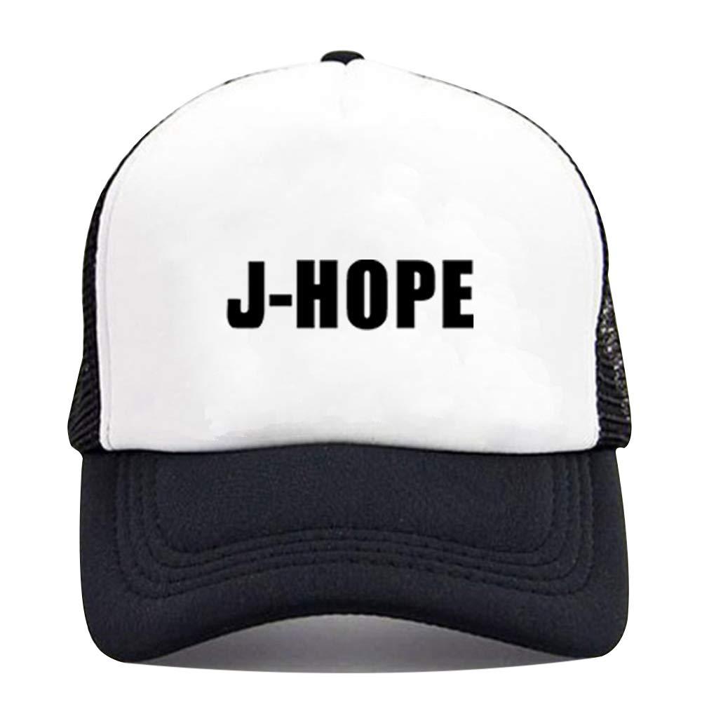 Youyouchard Kpop BTS 防弾少年団 ツイスブラックピンク ユニセックス ホワイト-ブラック スナップバックハット 調節可能なフラットビル野球帽 BTS-J-HOPE