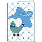 """It's a boy""' New Baby boy Born perambulator Stroller And Heart blue Congratulations Greeting Card"