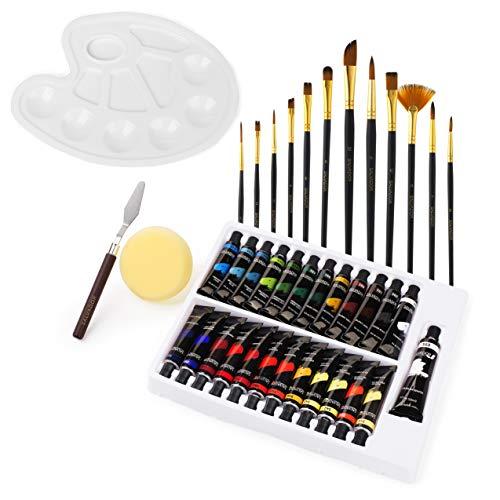 Salvador Acrylic 40 Piece Paint Set - 24 Colors (12ml/tube), Paint Kit with Premium Paint Brushes, Mixing Knife, Paint Palette & Sponge, Professional Painting Set Arts Crafts Supplies for Adults Kids